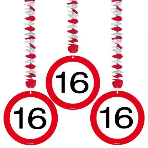 Traffic Sign 16th Party Hanging Decor 3' Birthday Decoration